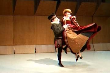 Photo of Peter dancing the Volta with Anna Mansbridge